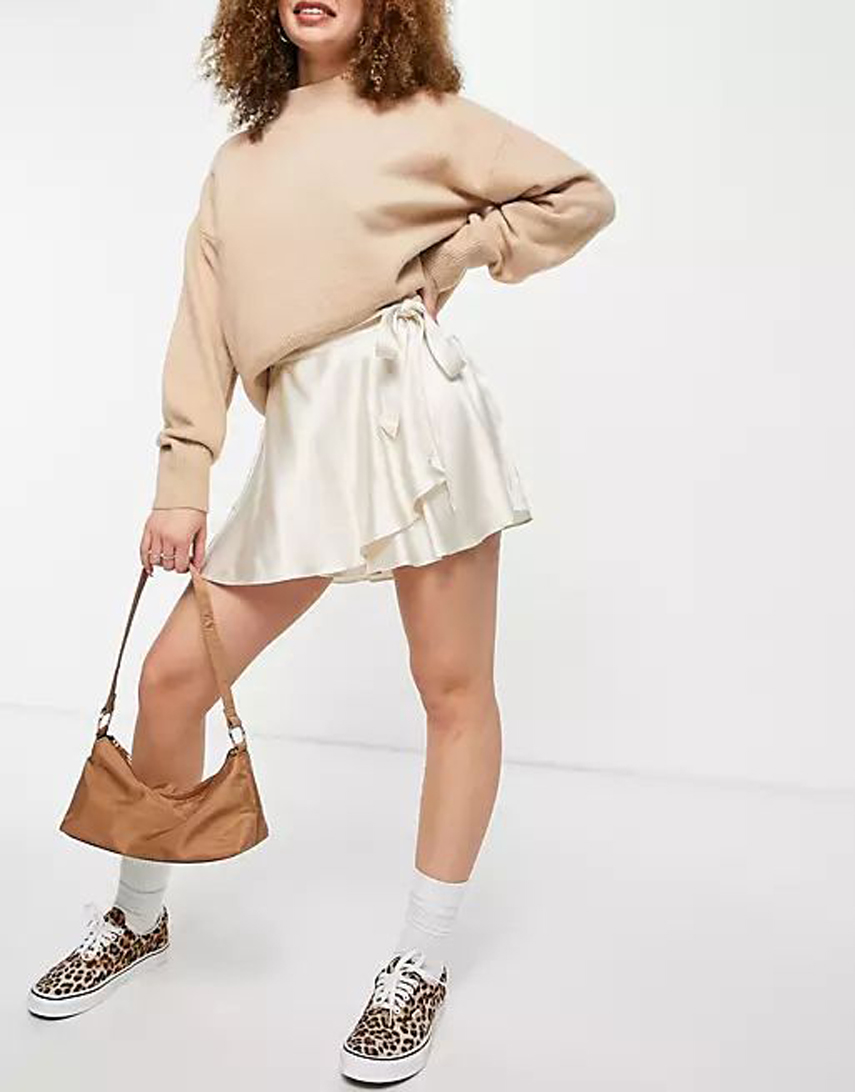 Bershka satin mini wrap skirt in ecru
