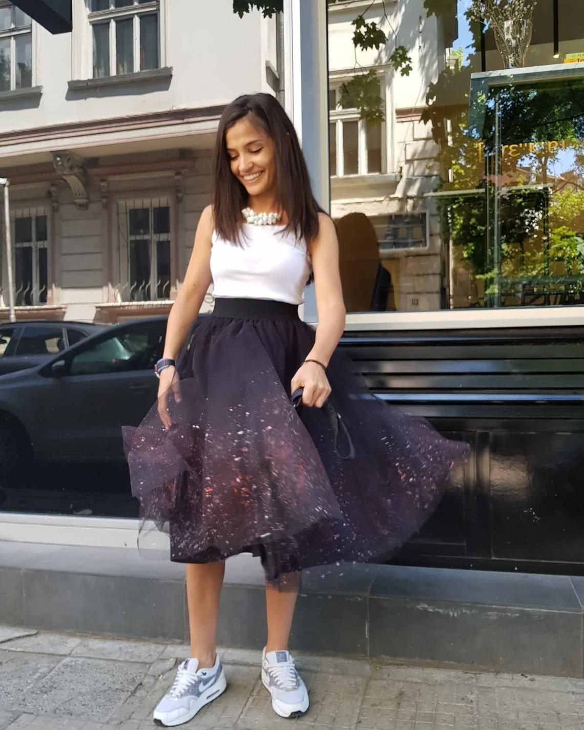 Black Cosmic Tulle Skirt / Party Sprayed Skirt / Wedding Sprayed Skirt / Bridesmaid Sprayed Skirt