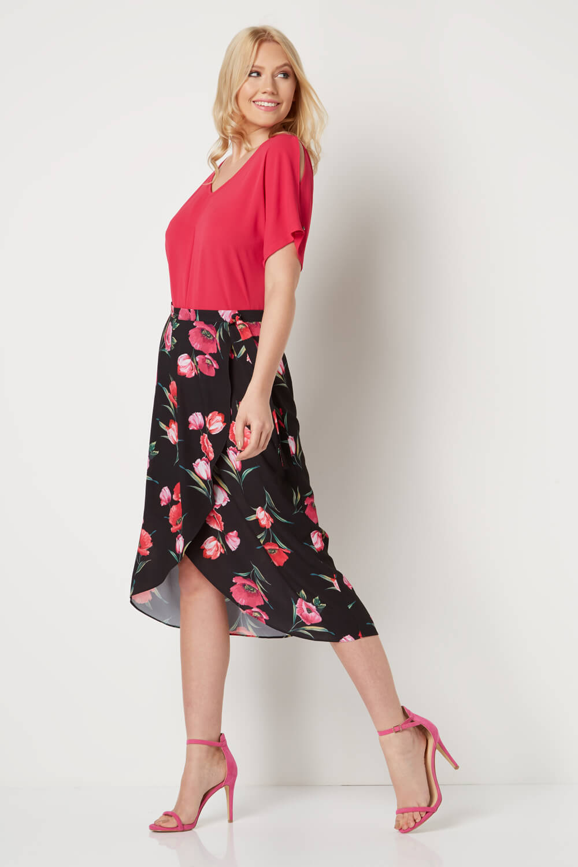 Black Floral Print Wrap Skirt