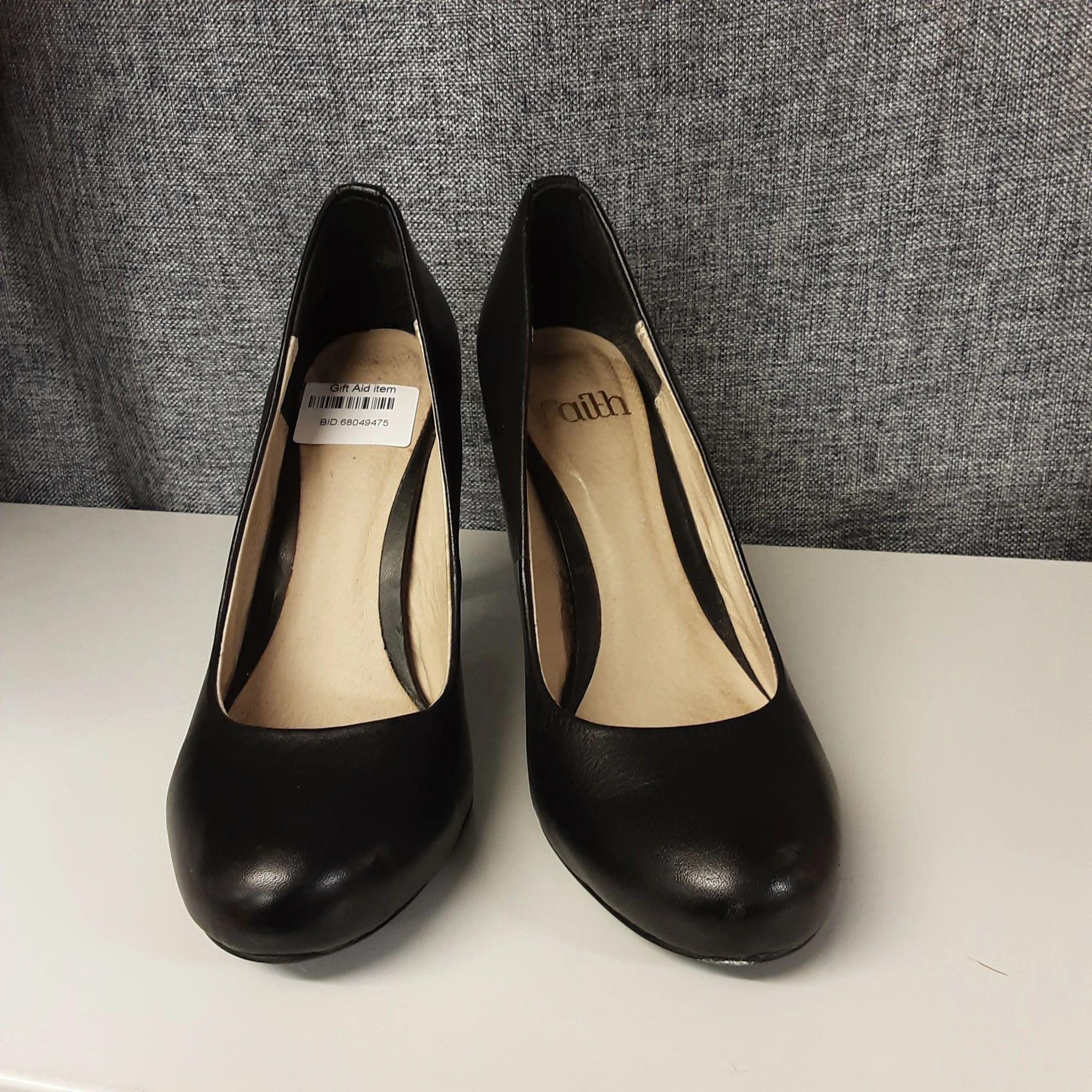 Black Heeled Faith Shoes Size 4