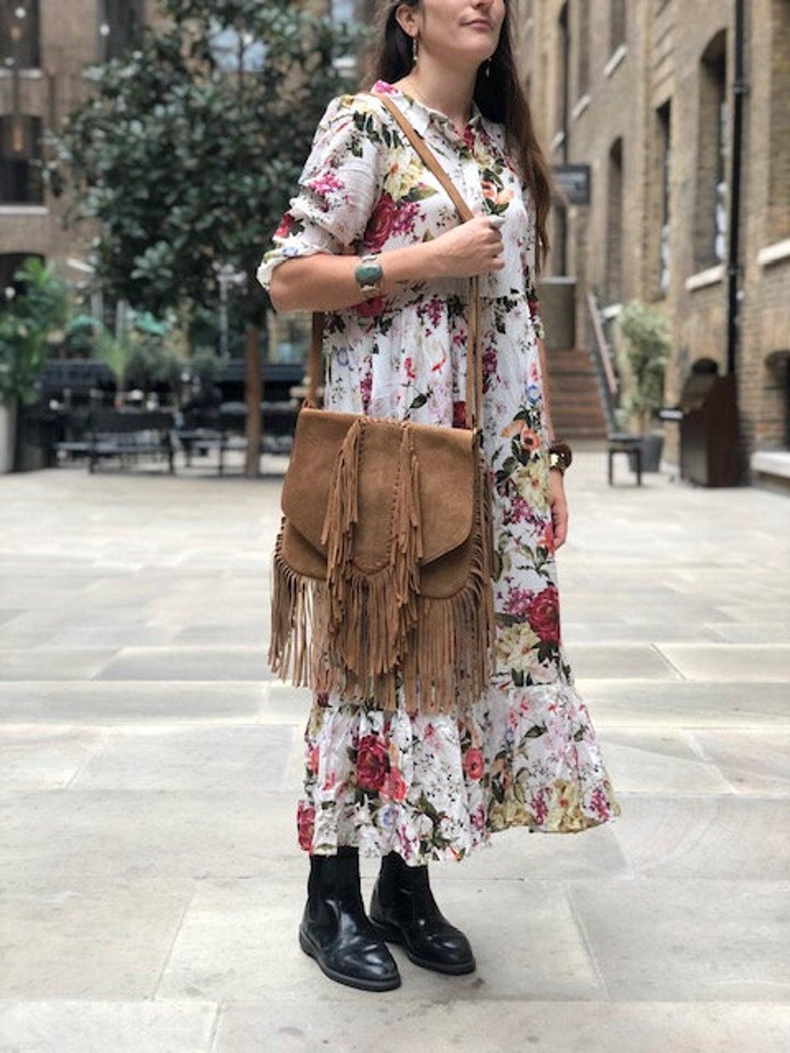 Braided FRINGE LEATHER BAG Tan - Hippie Suede Tassel Handbag | Ethnic Boho Purse | Large Bohemian Satchel | Western Leather Bag