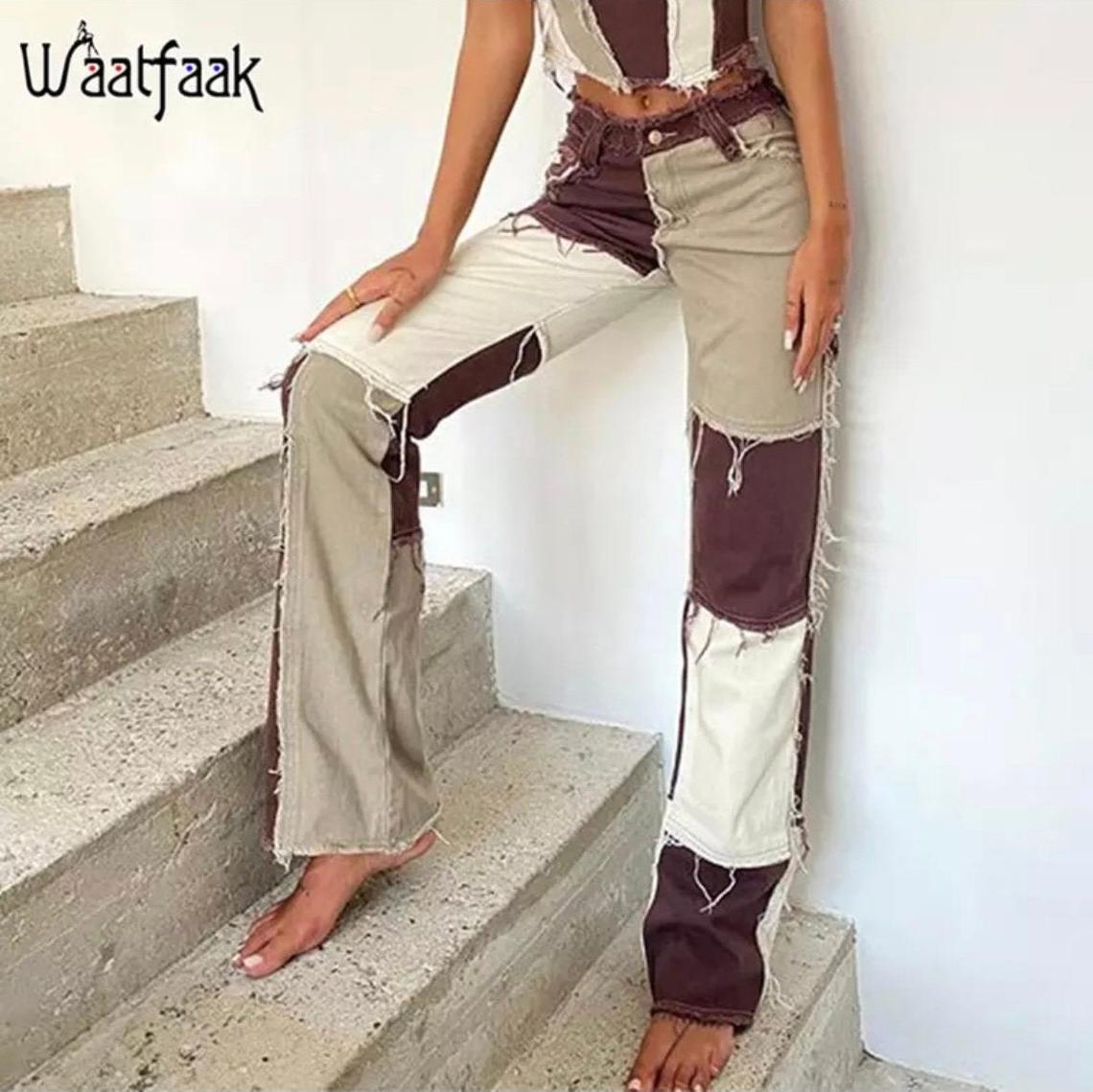 Brown Patchwork High Waist Straight Denim Pants Women Casual Skinny Ripped Jeans Capris Pocket Long Trousers Ladies Streetwear