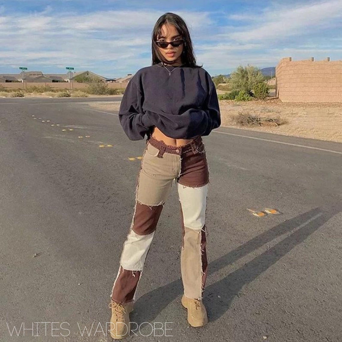 Brown Patchwork Jeans - frayed patch hem bottoms - tan white straight y2k wide leg trousers - beige - high waist jeans - burgandy