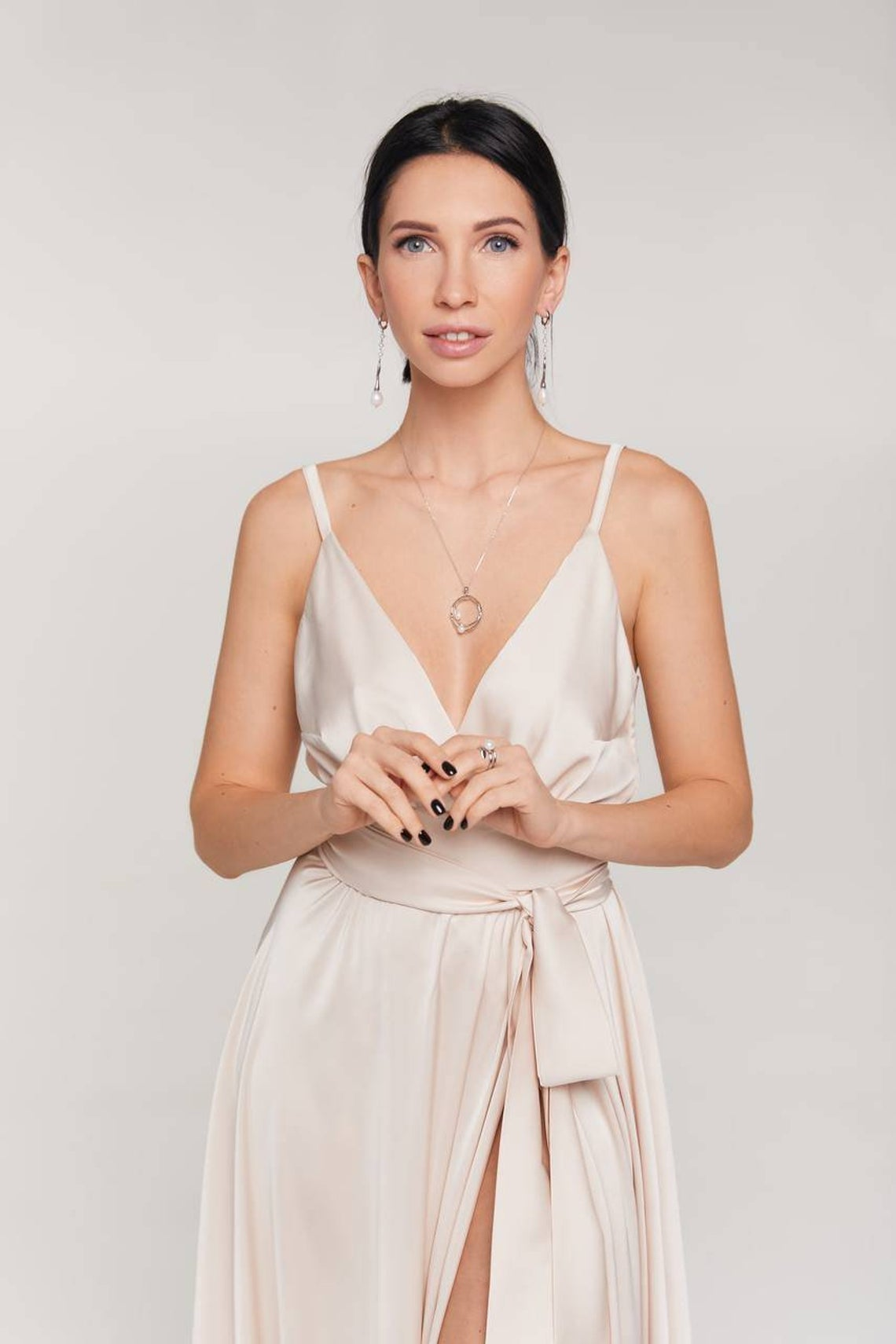 Champagne bridesmaid dress/silk A-line maxi wrap dress/wedding guest dress/evening dress/formal dress/prom dress/beach wedding dress