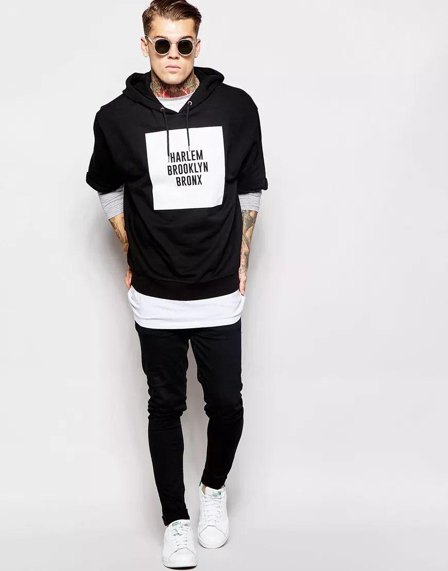 short sleeve hoodie and black sweatpants