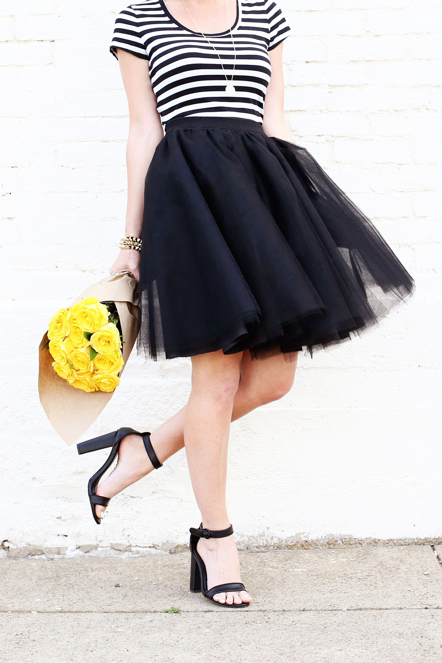 tulle skirt with black-and-white striped tank top