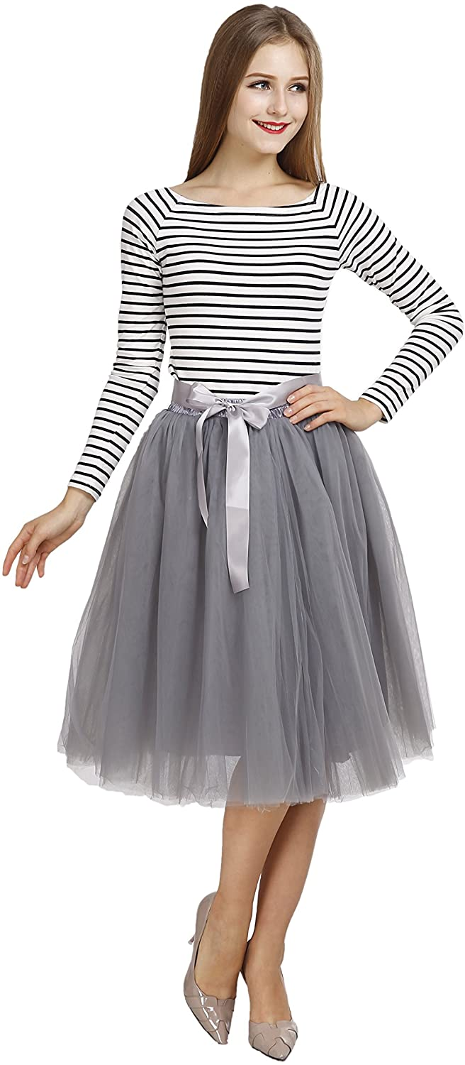 Colleer Petticoat, Women's Tutu Skirts 7 Layers Midi Tulle Underskirt with Belt 20 Color