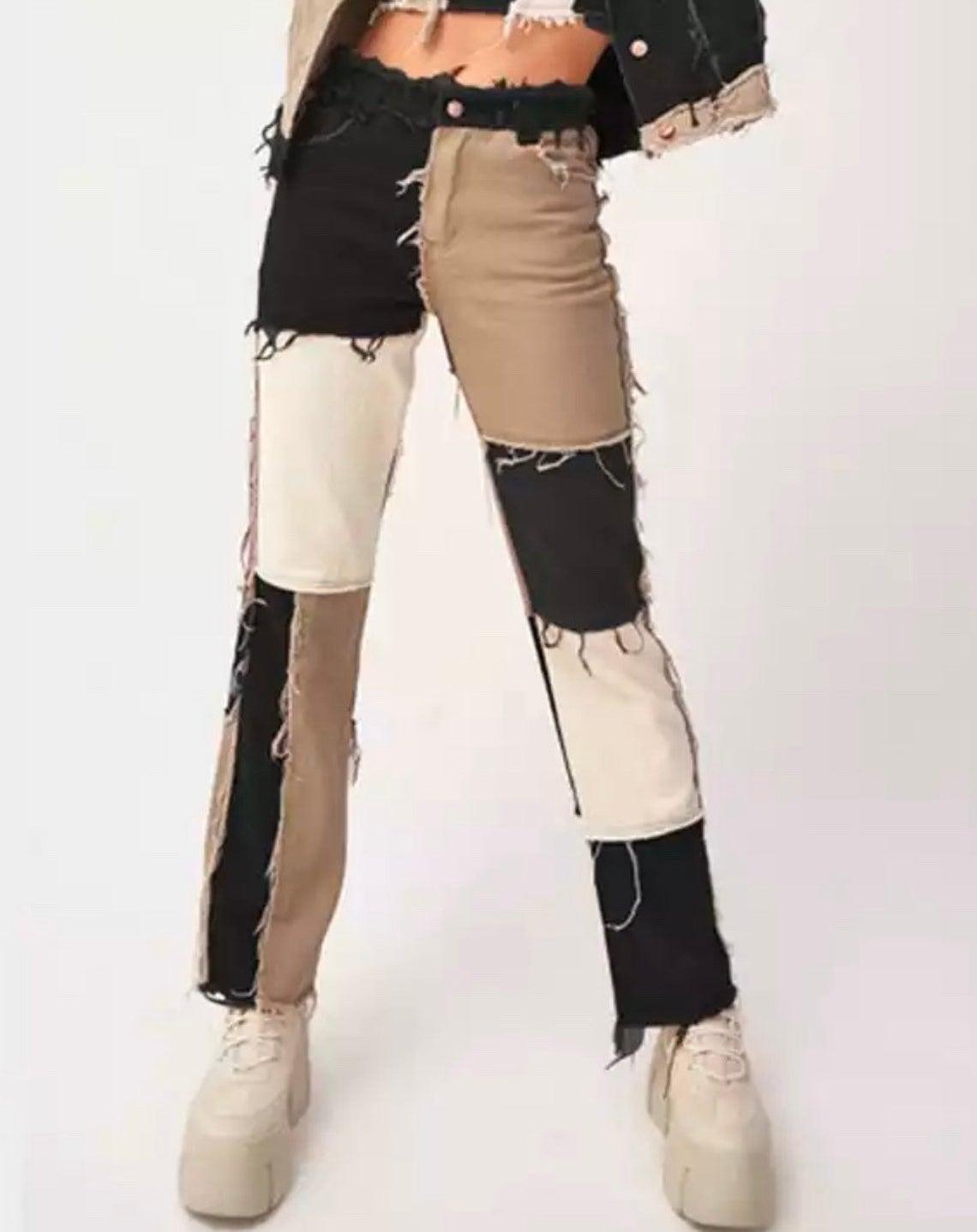Colourful Patchwork Frayed Denim Jeans Colour Block High Waist Boot Cut