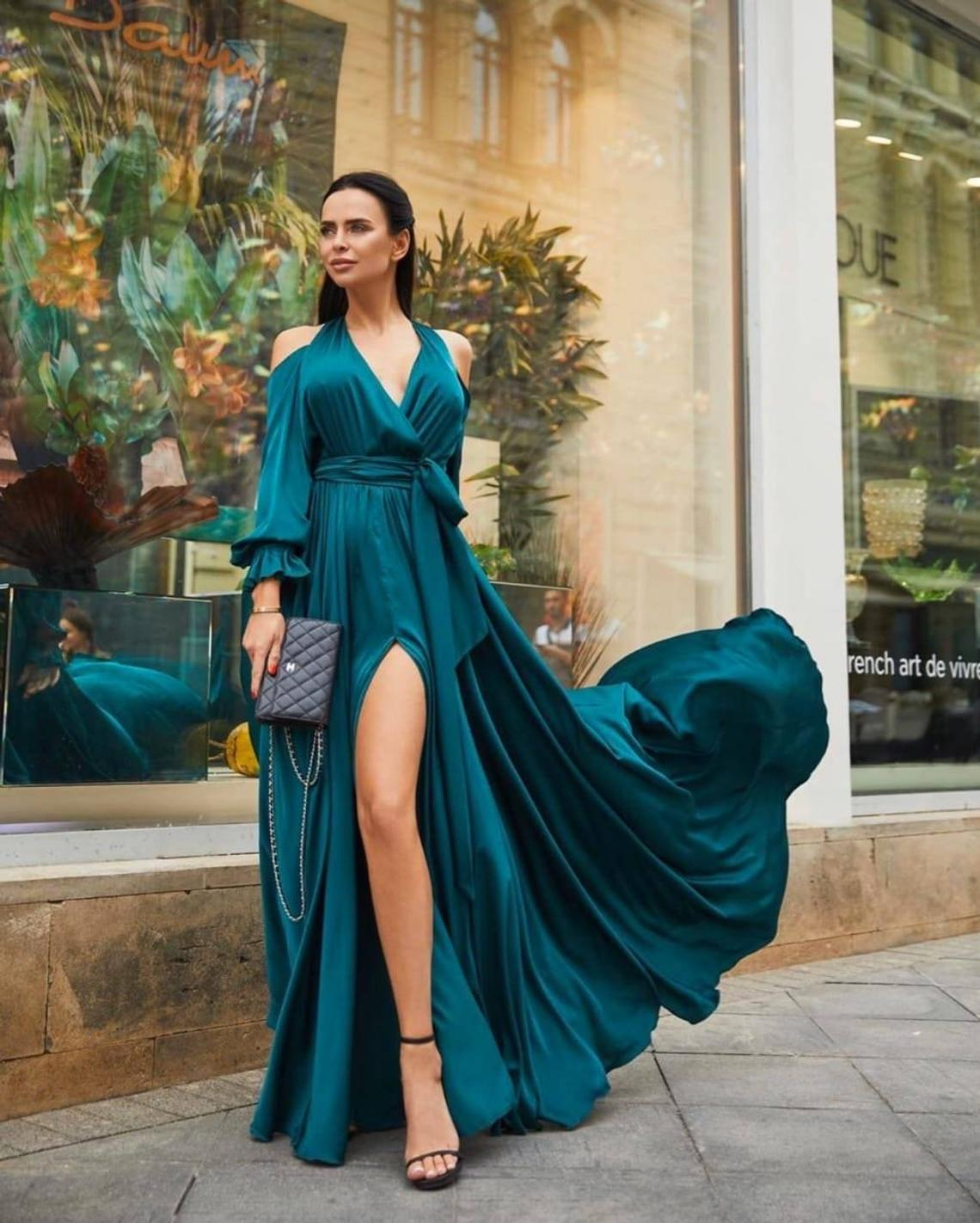Dark emerald silk cold shoulder A-line maxi wrap dress/wedding guest dress/bridesmaid dress/evening dress/prom dress/formal dress