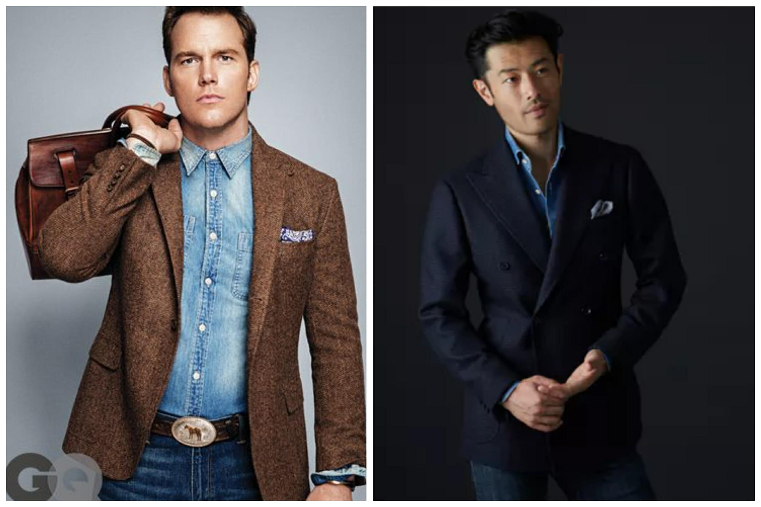denim shirt with a suit jacket