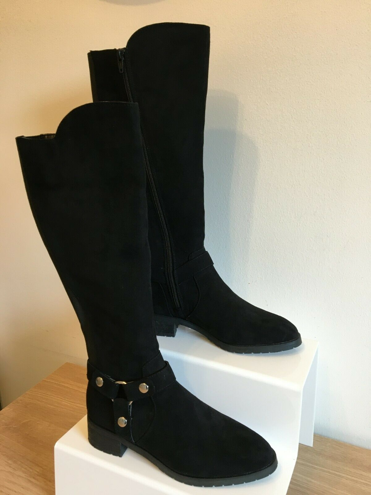 Faith Knee High Boots Black Suede Elastic Zip Up UK Size 4 Brand New