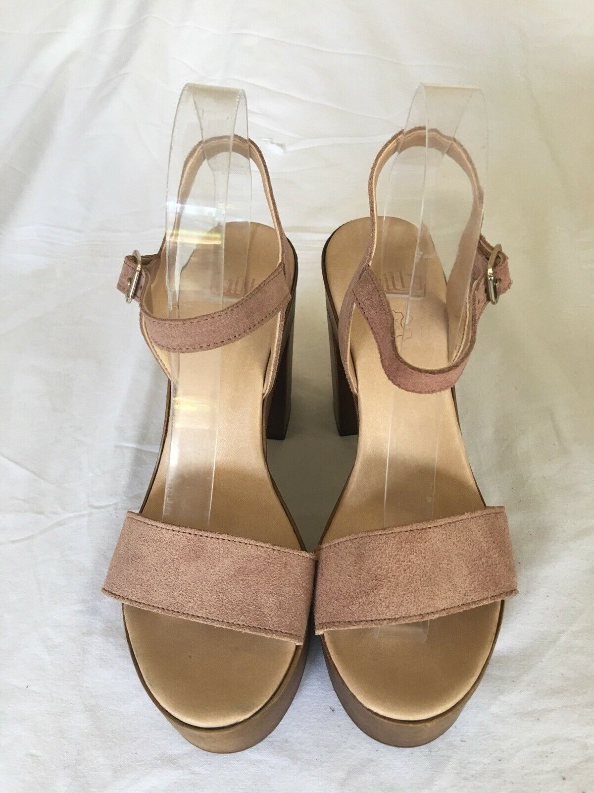 Faith Women Platfornm Light Brown Suede Leather Shoes Size 6 (H69).