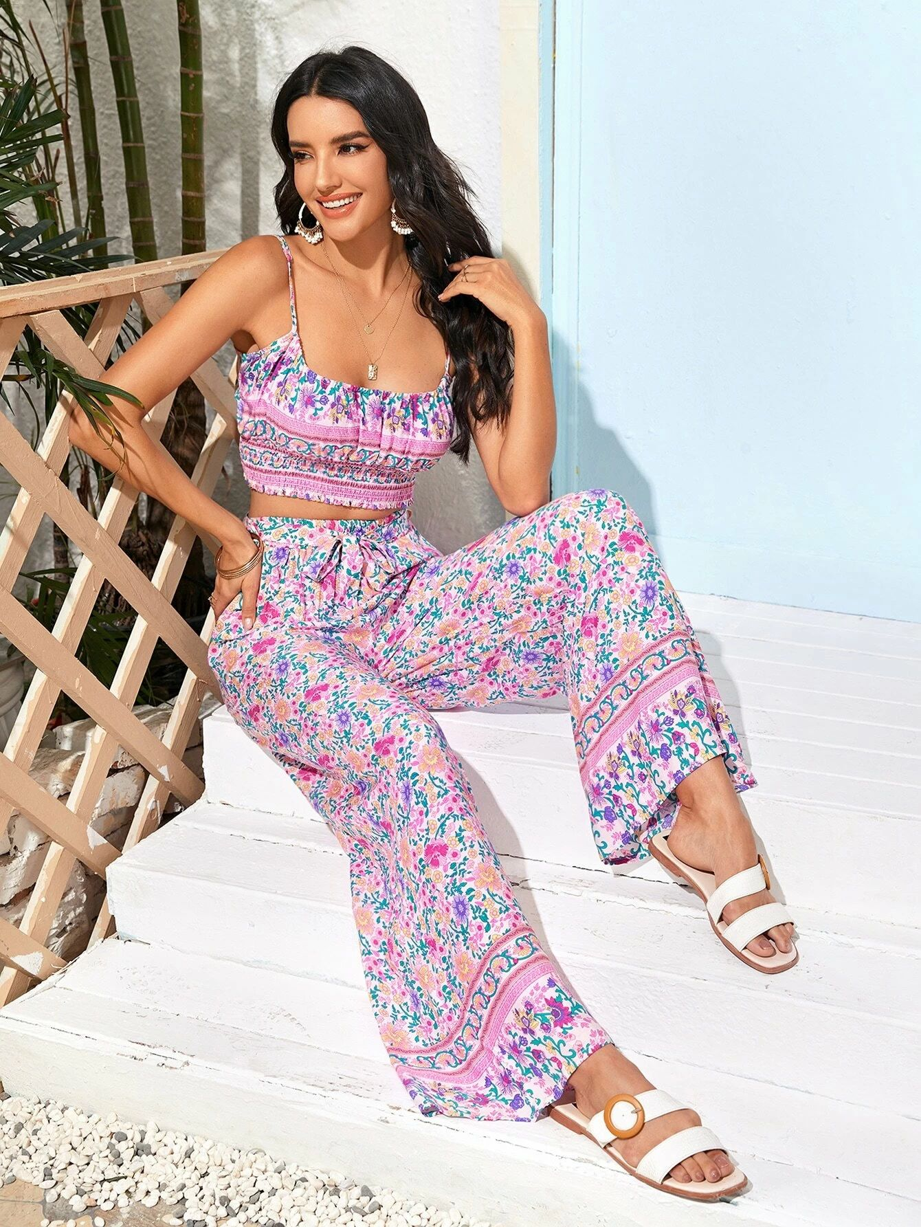 Floral Print Cami Top & Wide-Leg Trousers Set