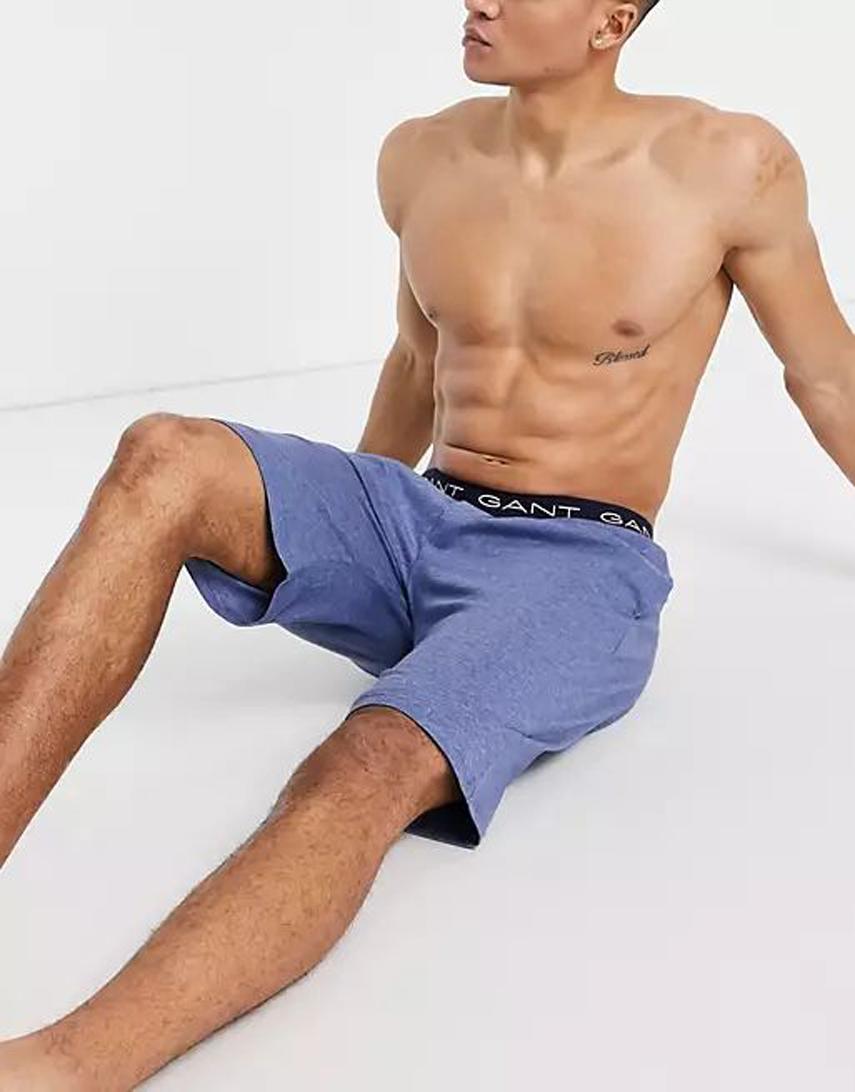 GANT lounge shorts in blue with logo waistband
