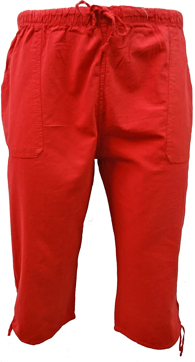 Get The Trend Womens 3/4 Cropped Trousers Ladies 100% Cotton White Black Capri Bottoms