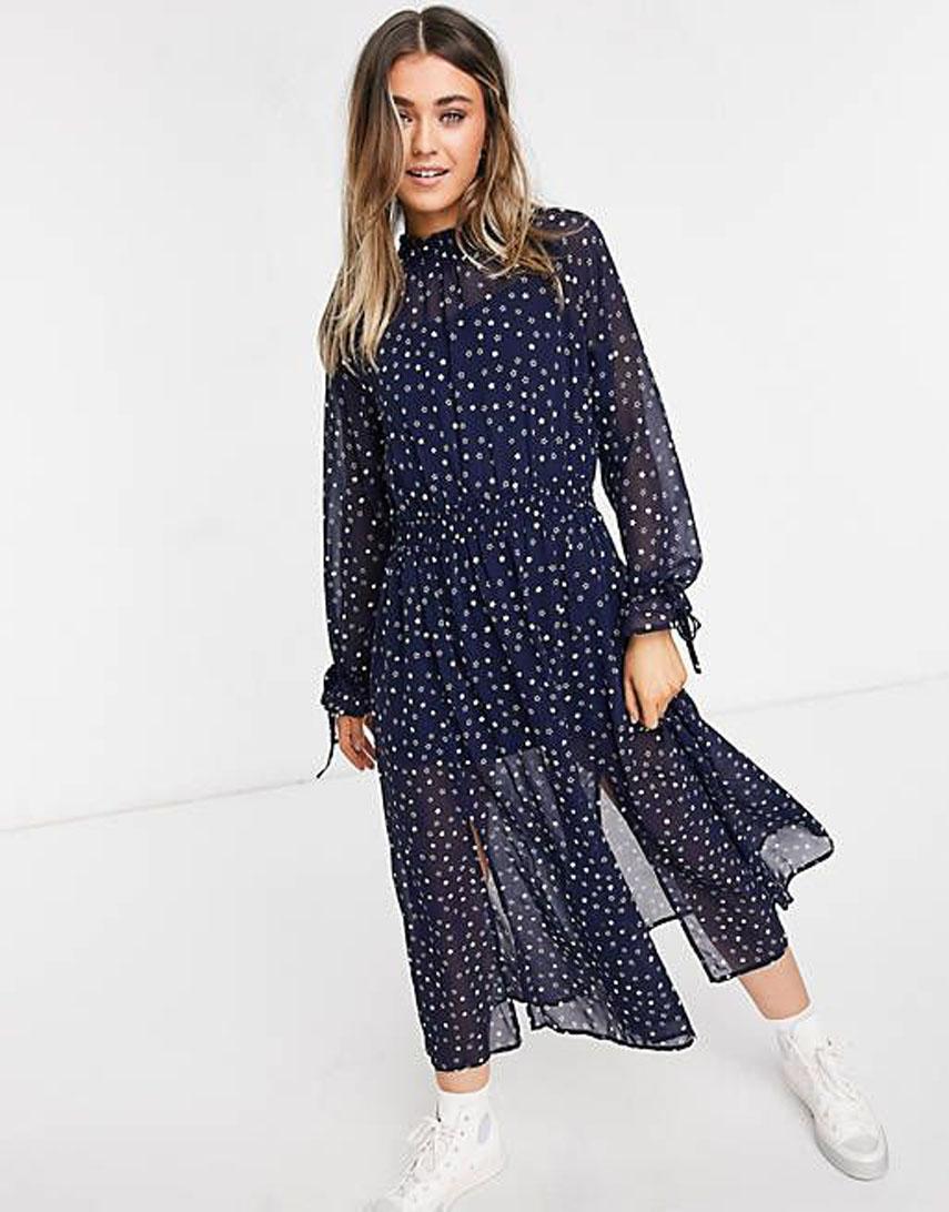 Glamorous high neck mini dress in navy star print