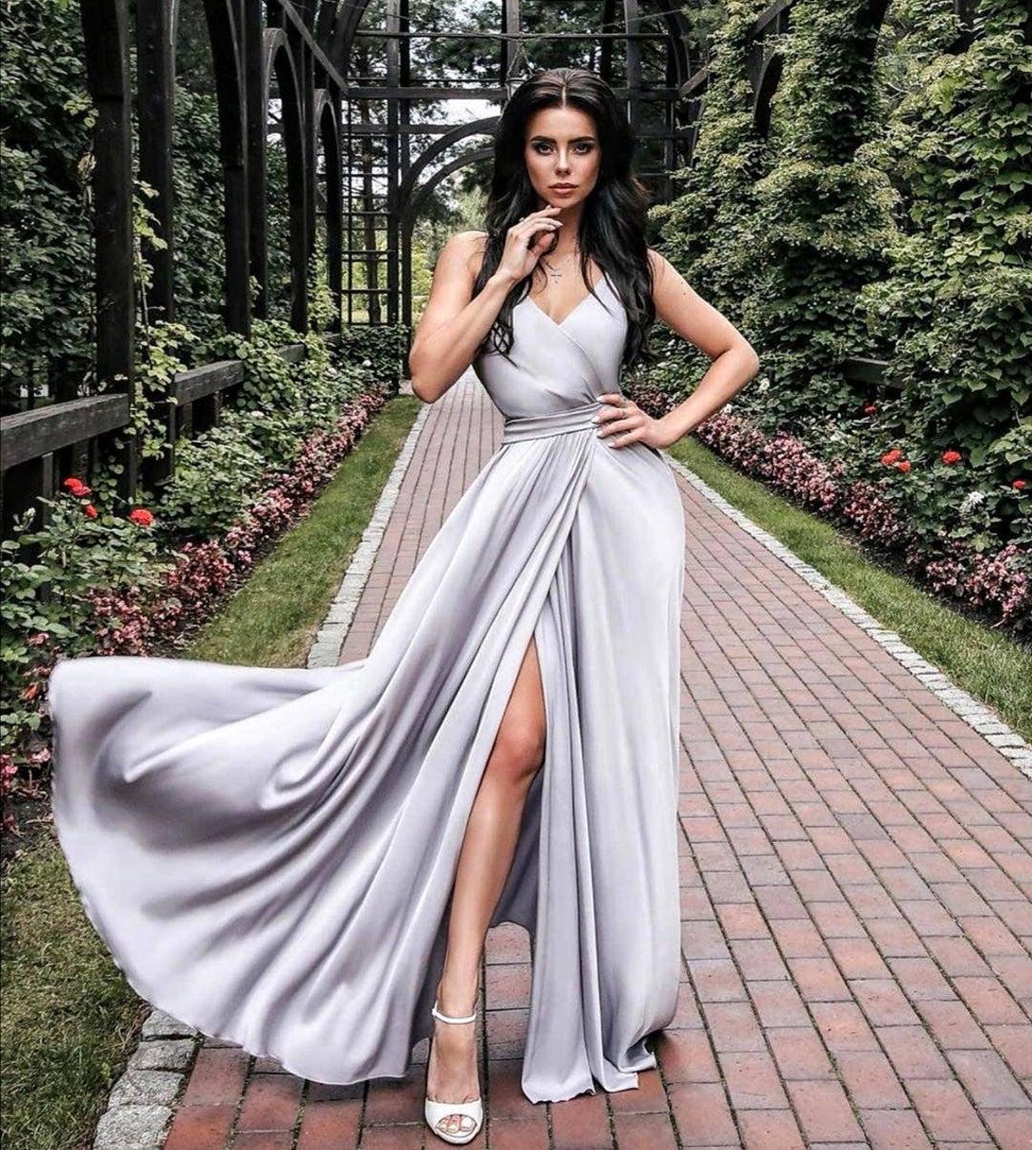 Grey bridesmaid dress/bridesmaid gown/silk maxi wrap dress/wedding guest dress/minimalist dress/evening dress/formal dress/prom dress