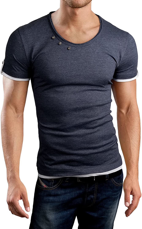 Grin&Bear Men's Slim fit Scoop Neck T-Shirt, BH106