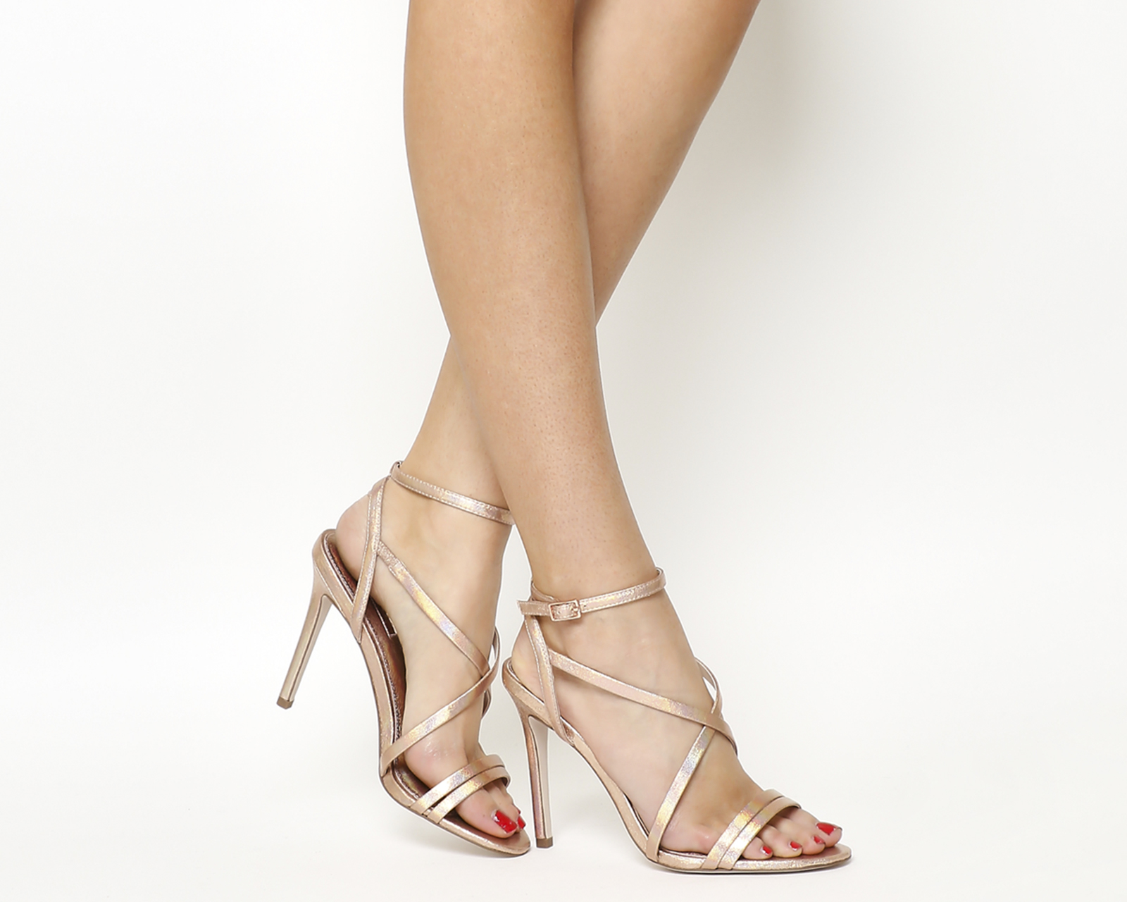 Hope Strappy Heeled Sandals Rose Gold