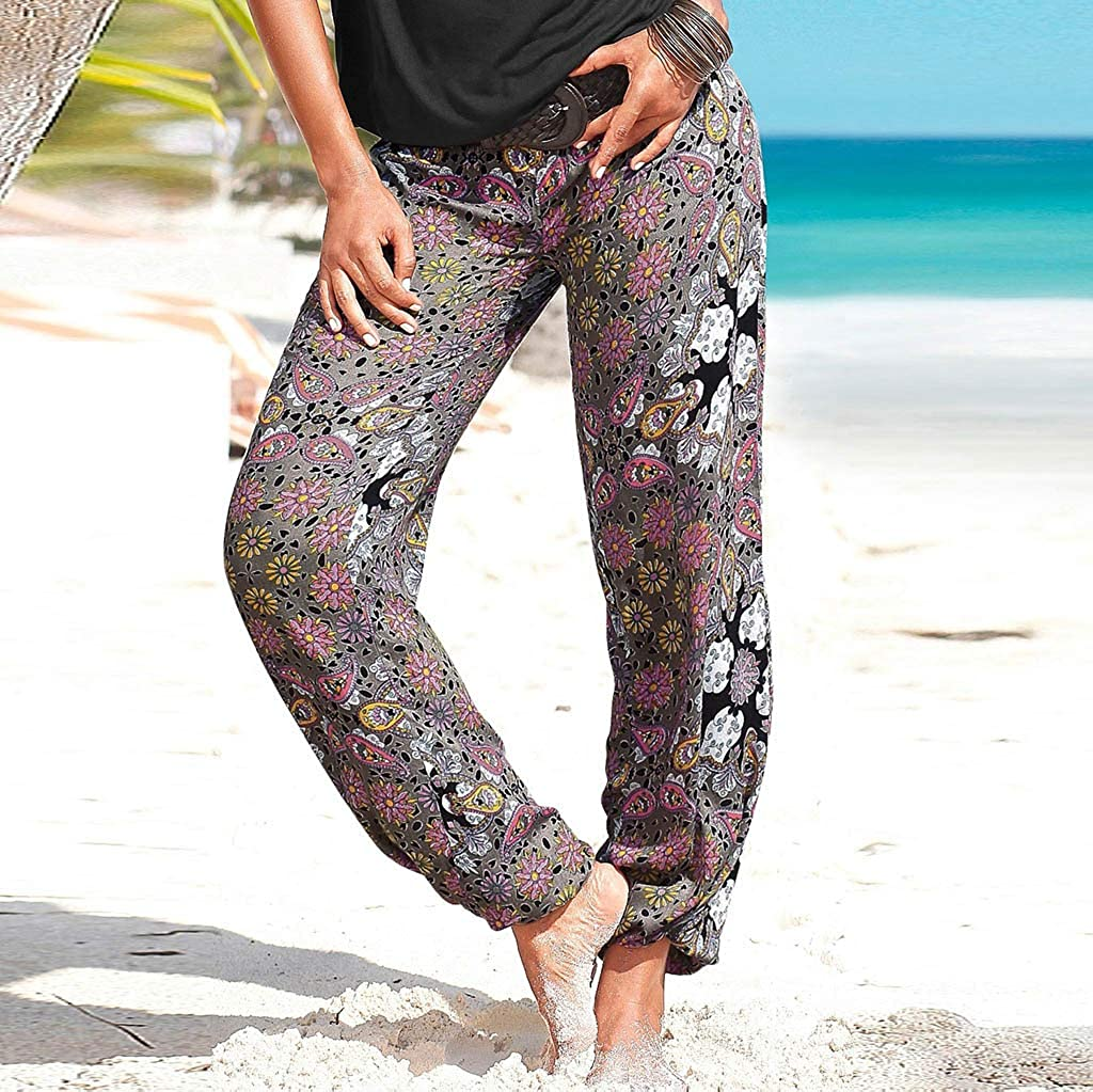 KaloryWee Palazzo Pants for Women Boho Floral Printed Hippie Trousers Ladies Paisley Print Stretch Elastic Waistband Harem Pants 6-16