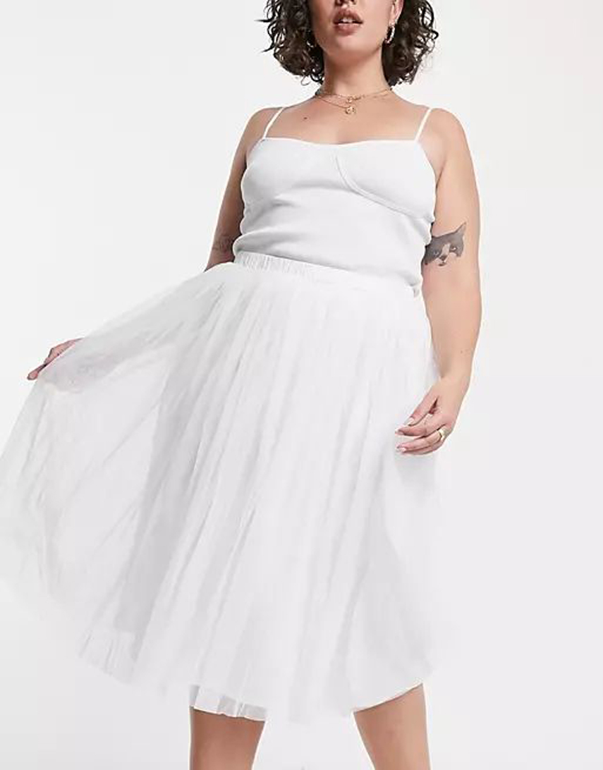 Lace & Beads Plus tulle midi skirt in white