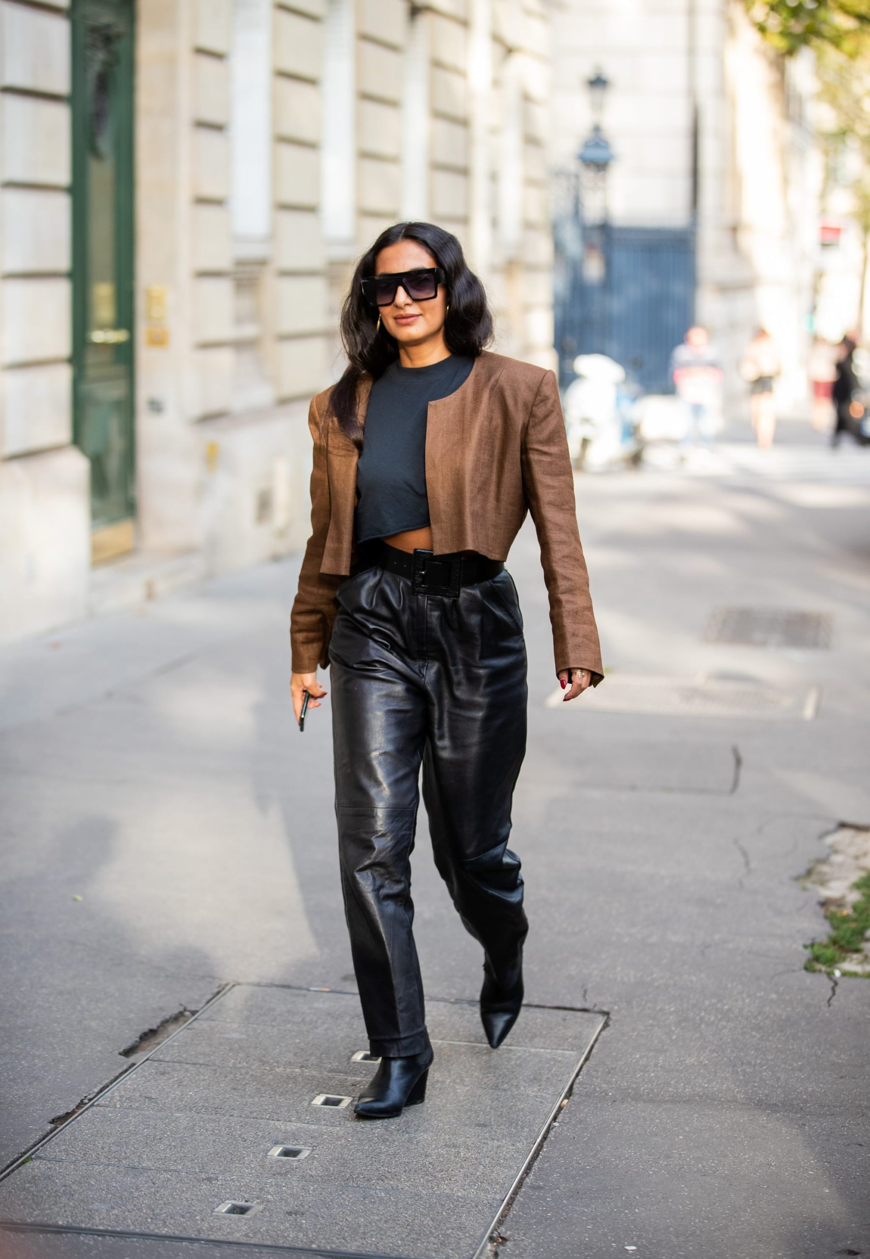 Women Leather Pants with Crop Top Under Blazer