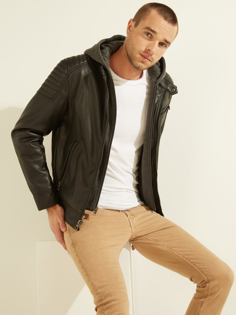 mens Tapered Chinos jeans with leather jacket