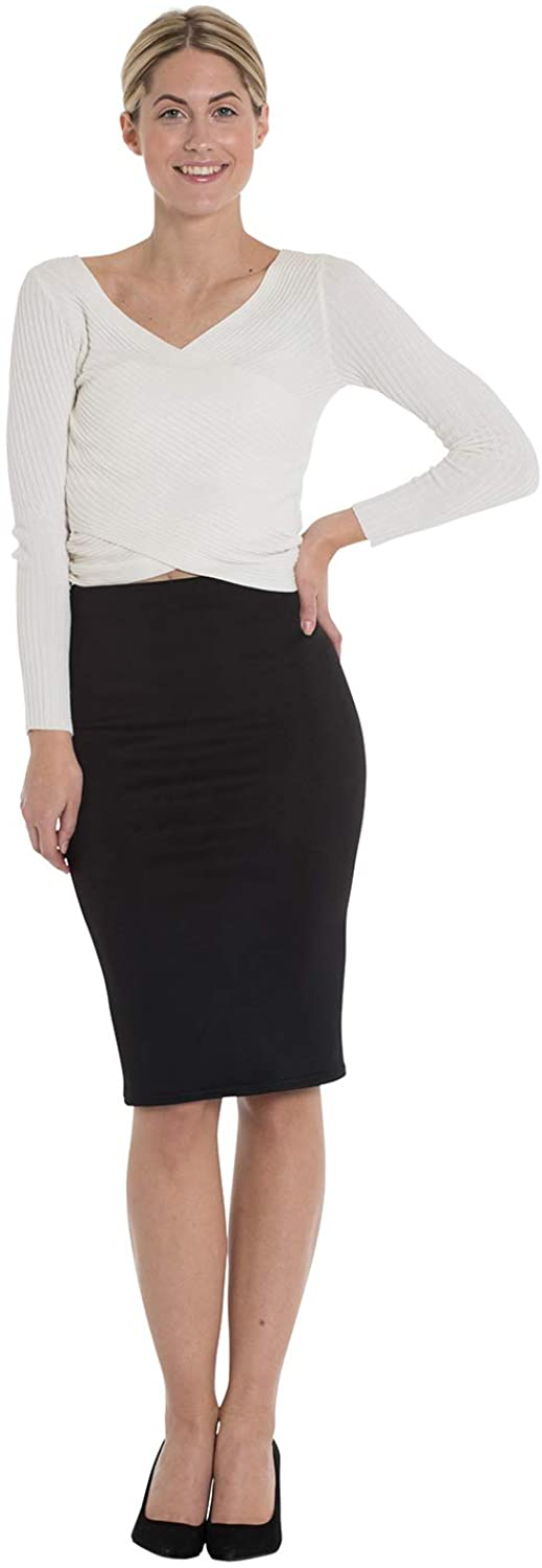 Marc Olivier Women's Pencil Skirt - a Tube/midi Skirt with an Elasticated Waist. Bodycon, Knee Length Design Perfect for The Office. in Black, Navy, Burgundy, Cream, Available in Plus Sizes