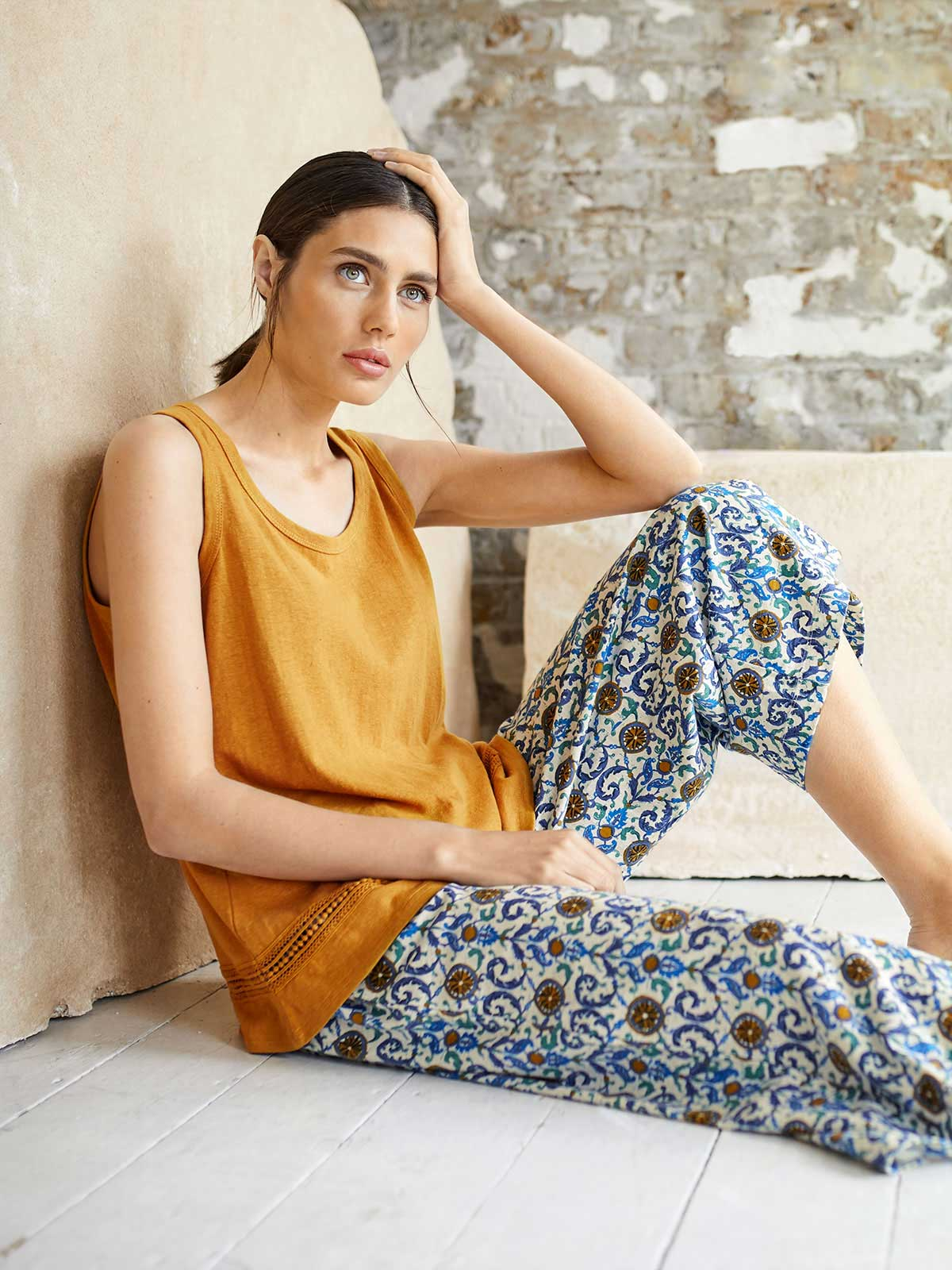 Maria Organic Cotton Floral Trousers