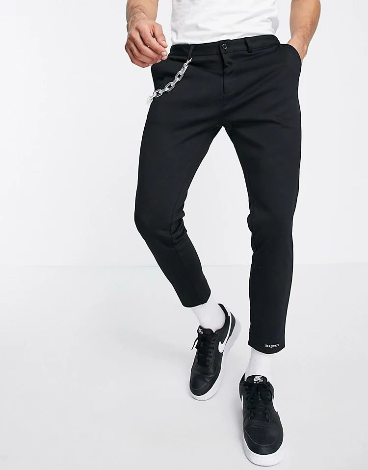 Mauvais lozere trousers with frosted chain in black
