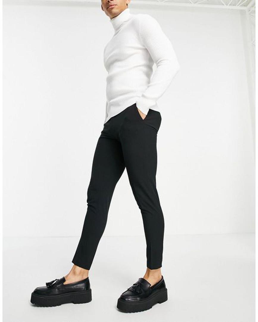 Men's Black Super Skinny Cropped Smart Trouser