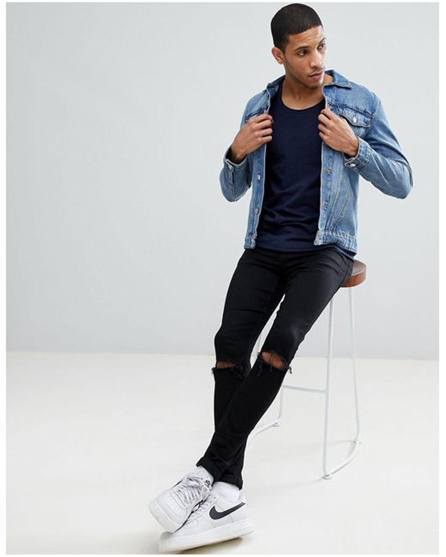 Men's Blue Essentials Scoop Neck Longline T-shirt