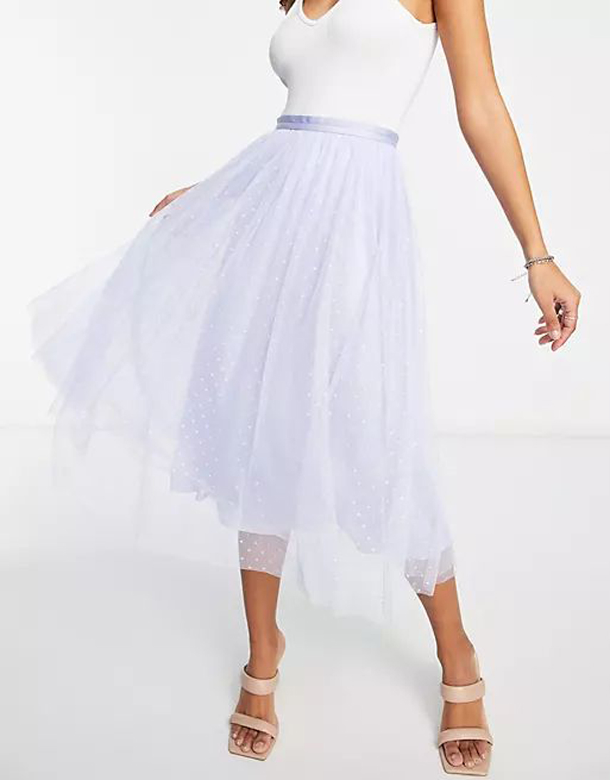 Needle & Thread Kisses tulle midaxi skirt in dusty blue co ord