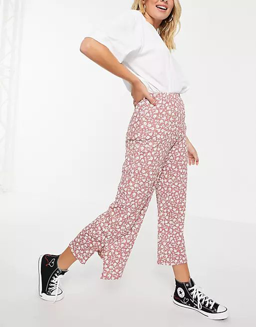 New Look textured split side wide leg trousers in pink floral