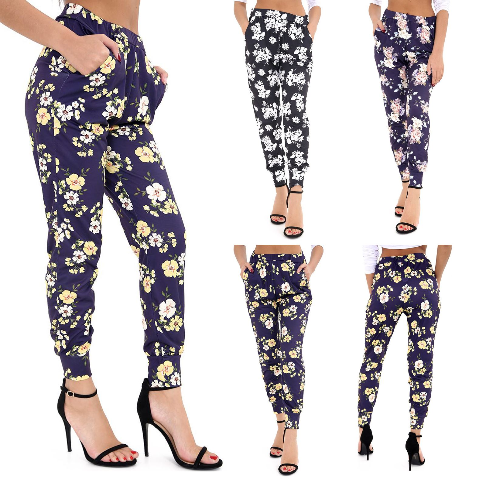 New Womens Floral Print Full Ankle Length Elasticated Waist Trouser Summer Pants