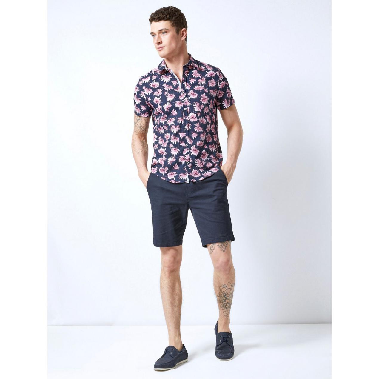 On Slow Navy Floral Print Shirt Pink | Burton Mens Shirts
