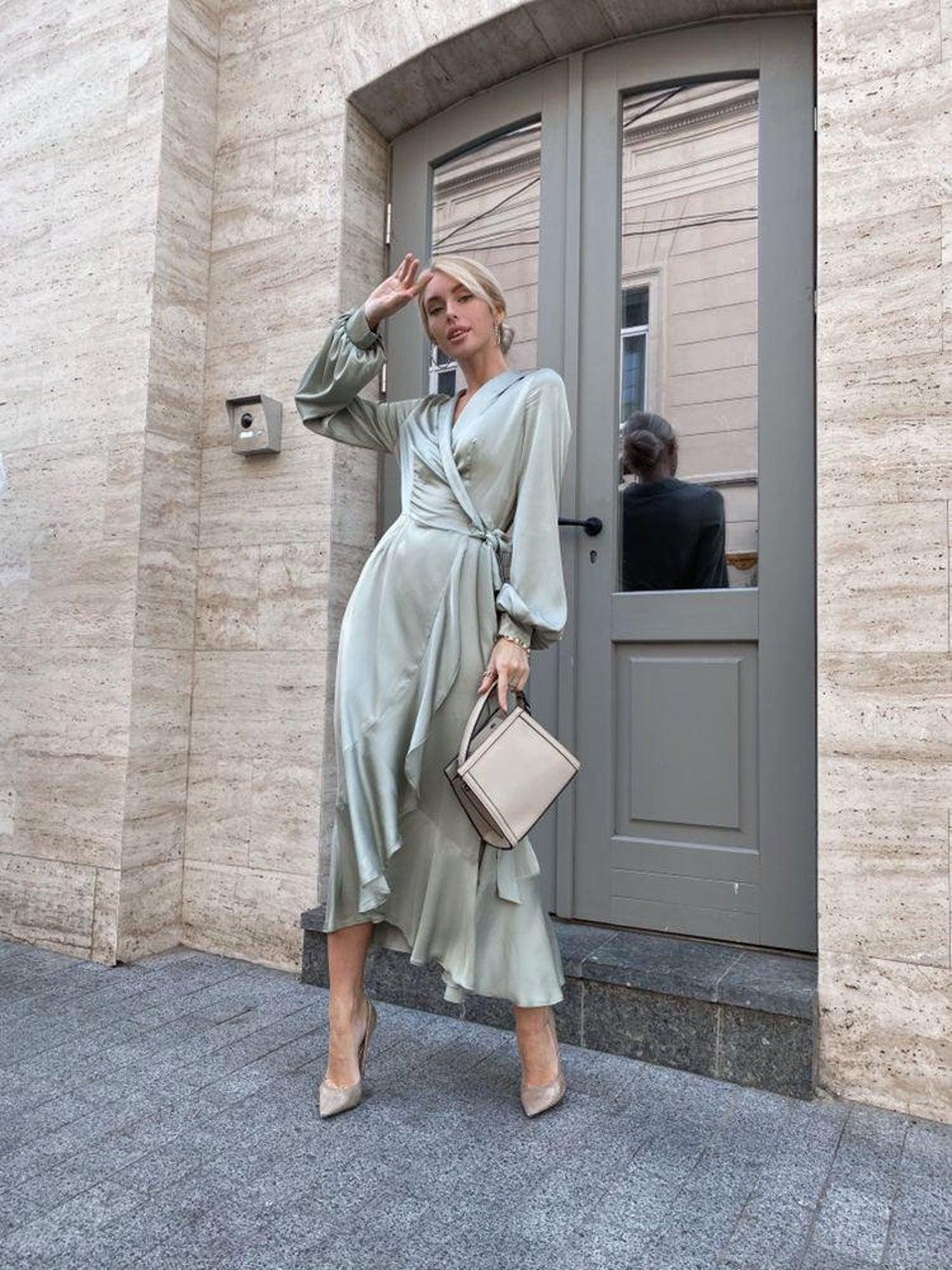 Pale Olive Silk Ruffle Dress Satin Sage Green Bridesmaid Gown