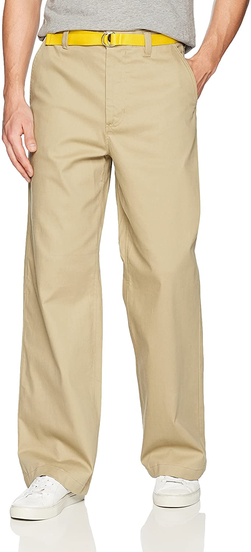 Perry Ellis Men's Modern Fit Wide Leg Chino Casual Pants