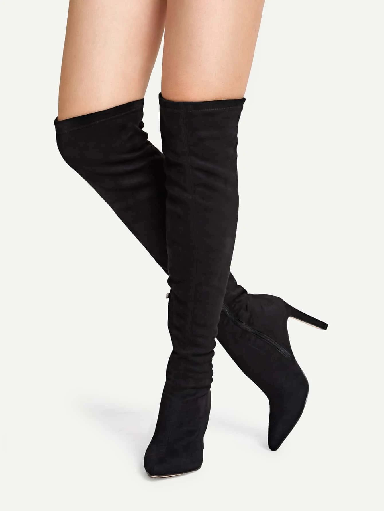 Point Toe Knee High Sock Boots