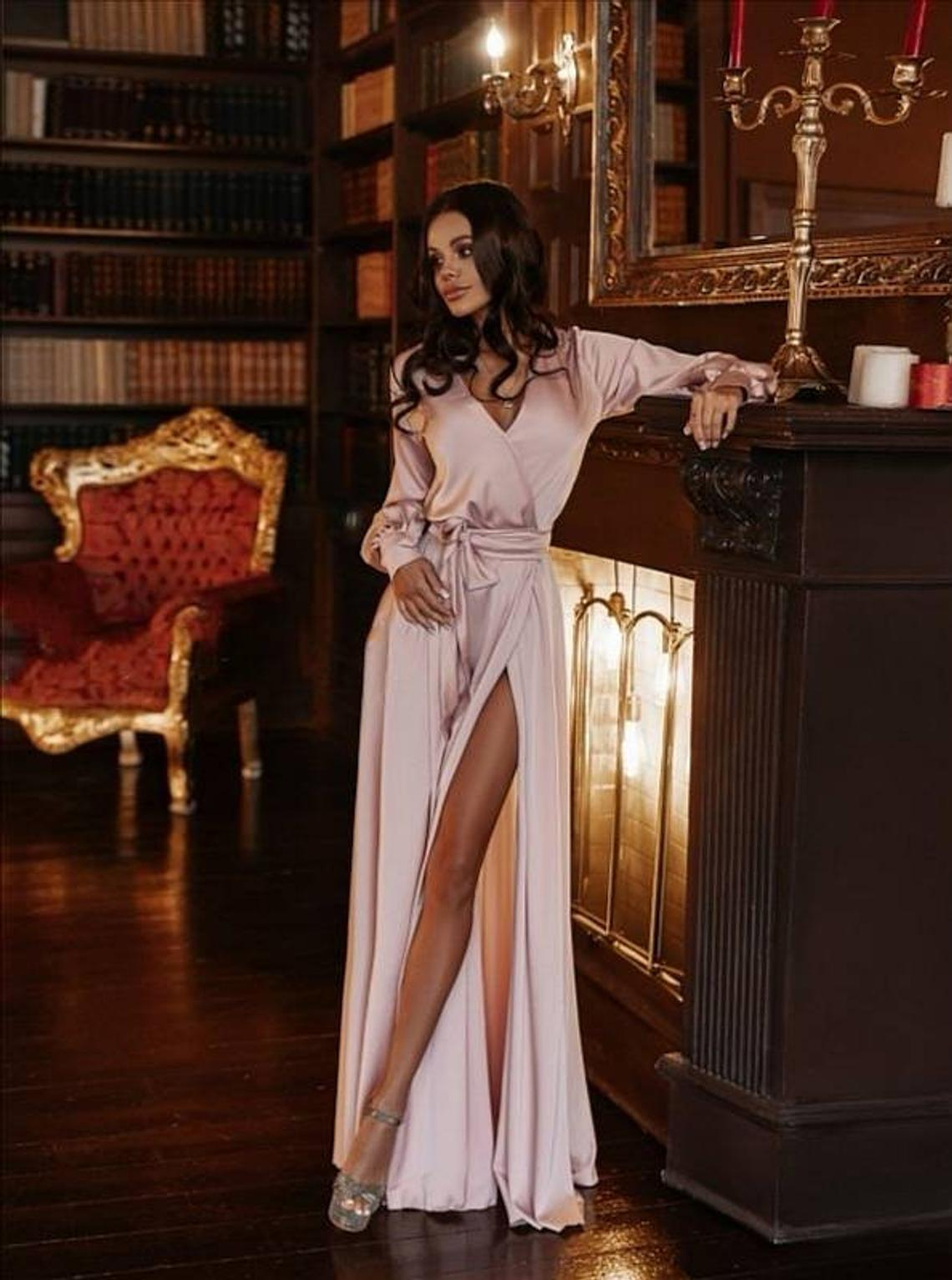 Powder pink silk satin A-line long sleeve maxi wrap dress/bridesmaid dress/prom dress/formal dress/wedding guest dress/beach boho dress