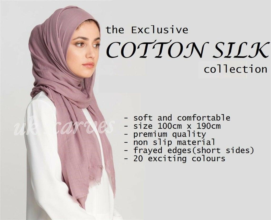 Premium Quality Soft COTTON SILK Maxi Hijab Scarves Headscarf Shawl Wrap Scarf