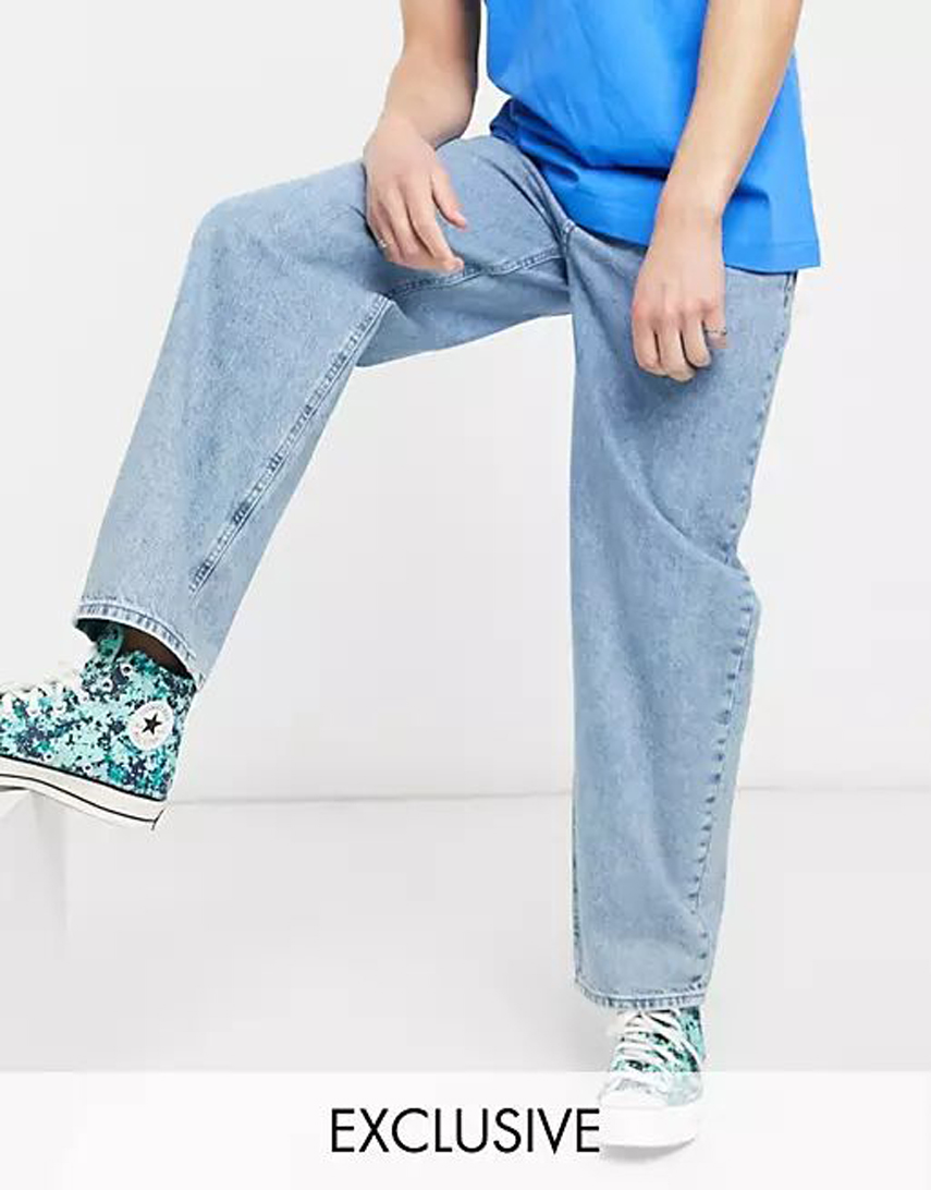 Reclaimed Vintage inspired 90's baggy jean in mid stone blue sustainable wash