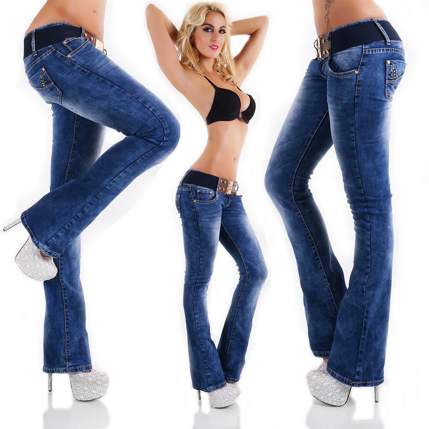 Redseventy Women's Bootcut Denim Jeans + Belt - Small