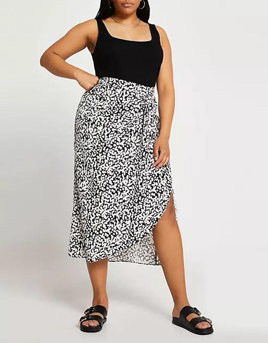 River Island Plus printed wrap midi skirt in black