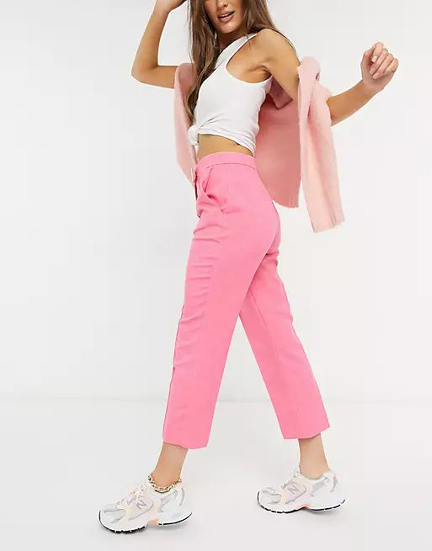 River Island tailored cropped trousers in pink