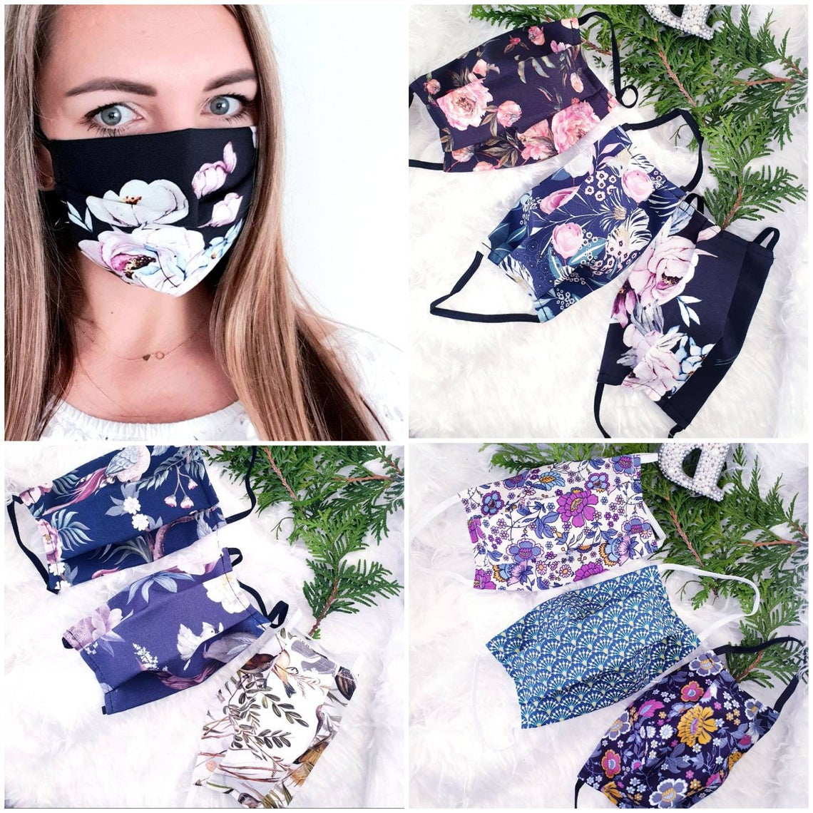 SALE Women Face Mask with Filter Pocket Elastic NEW DESIGNS Spring Summer Flowers washable reusable handmade Mothers day present
