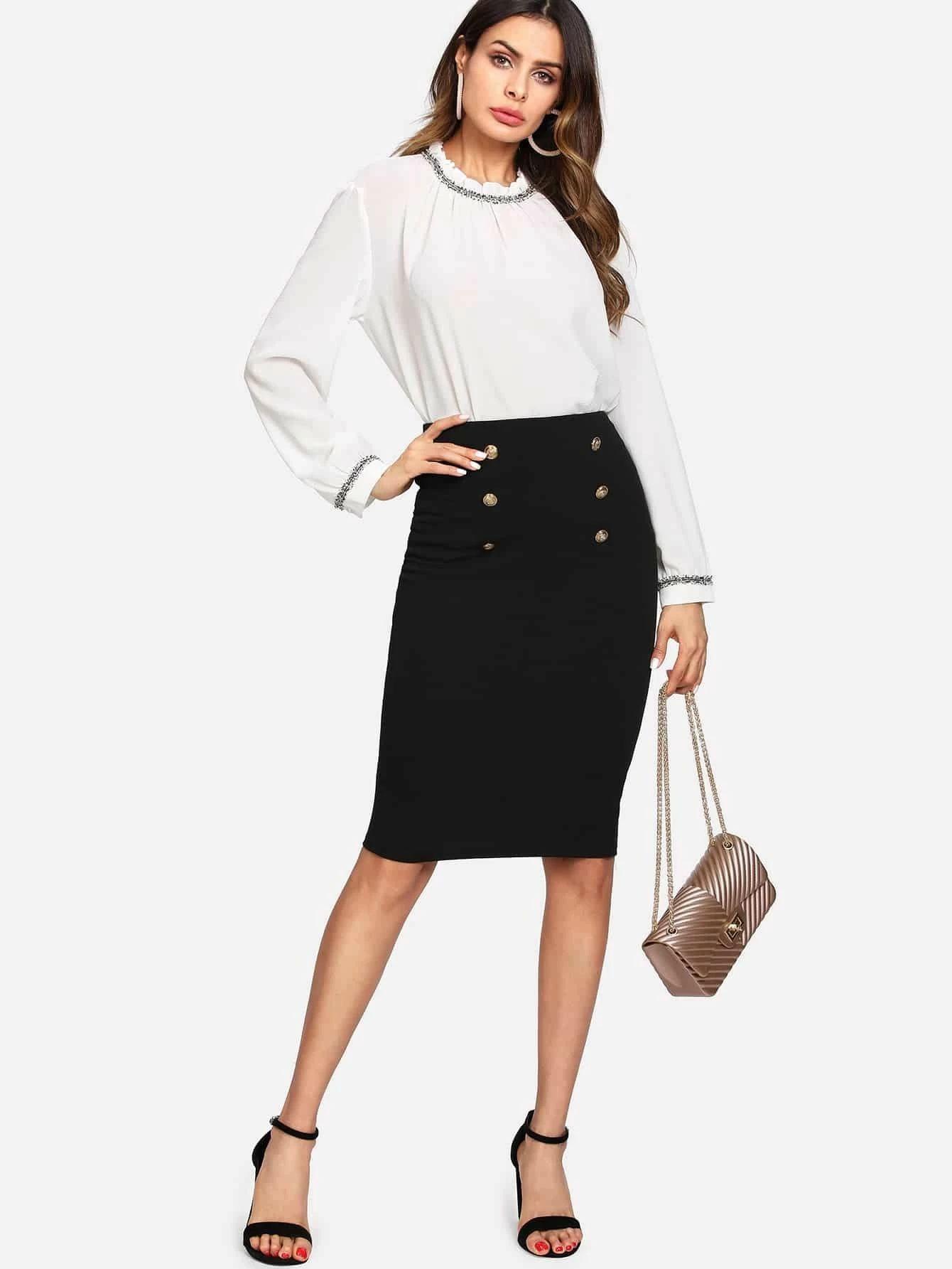 SHEIN Double Button Tube Skirt