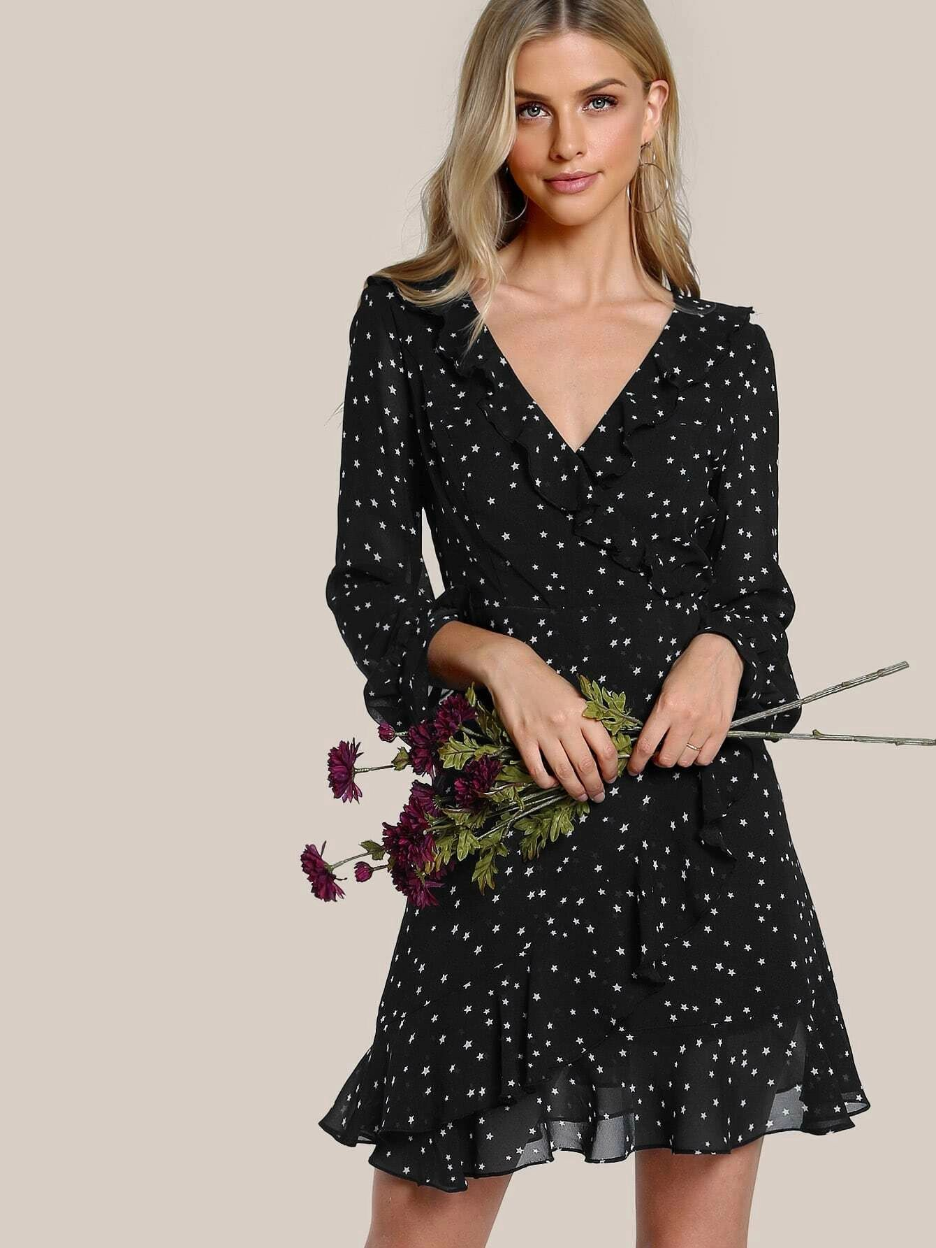 SHEIN Star Print Ruffle Wrap Dress
