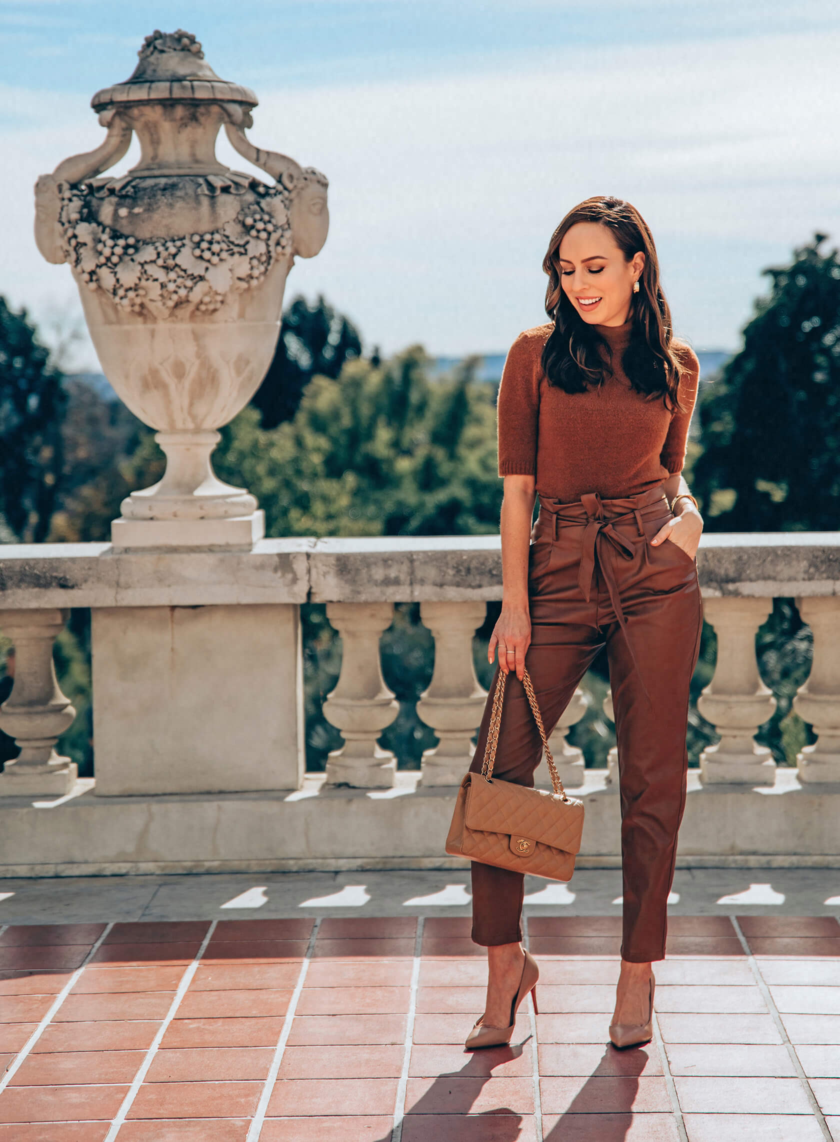 Women brown Leather Pants with Turtleneck Top