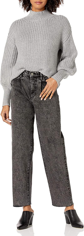 The Drop Women's Monique Single Pleat High-Rise Wide Leg Acid Wash Jean